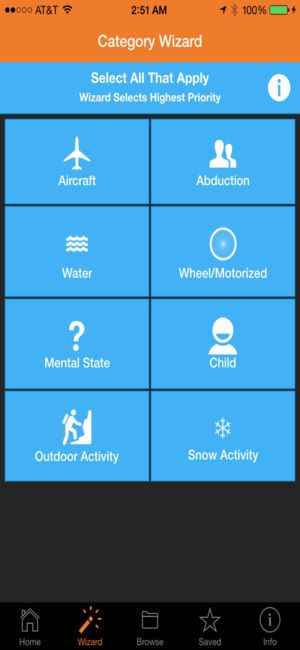 lost person behavior app